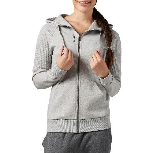Womens Reebok Elements Quilted FullZip Half-Zips & Hoodies Technical Tops - Grey/Heather S