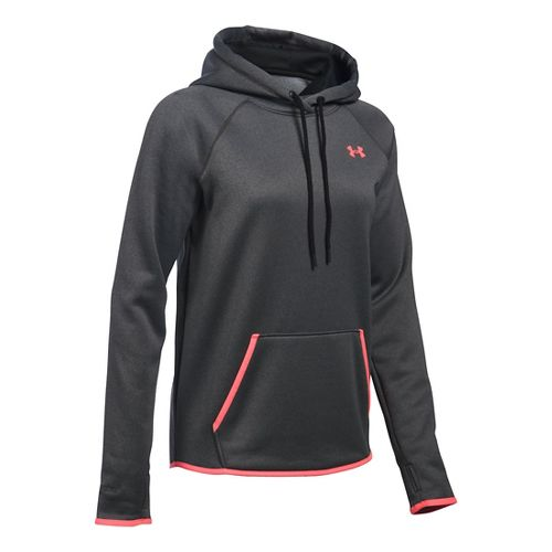 Womens Under Armour Storm Fleece Icon Hoodie & Sweatshirts Technical Tops - Carbon/Brilliance L