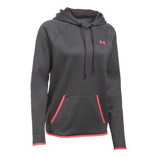 Womens Under Armour Storm Armour Fleece Icon Half-Zips & Hoodies Technical Tops - Carbon/Pink S