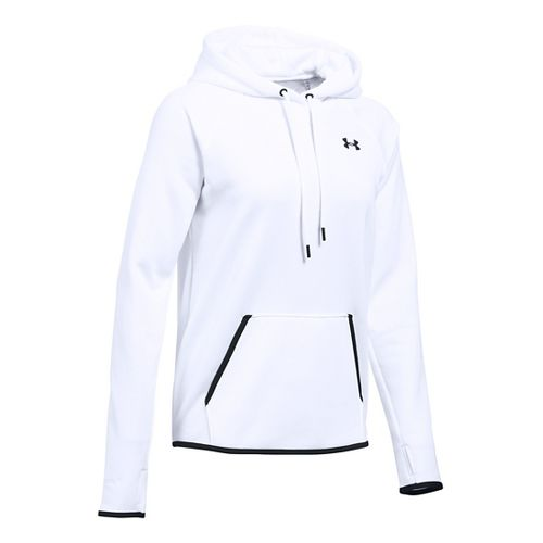 Womens Under Armour Storm Fleece Icon Hoodie & Sweatshirts Technical Tops - White/Black XS