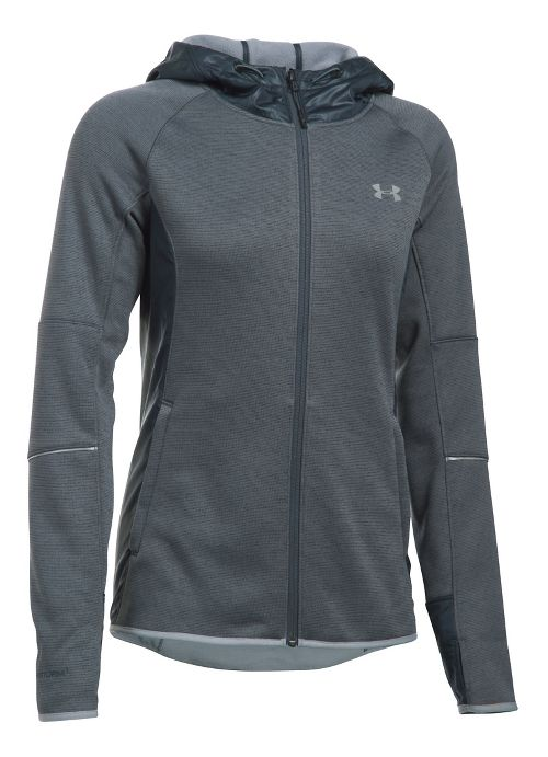Womens Under Armour Storm Swacket Full-Zip Running Jackets - Stealth Grey/Steel M