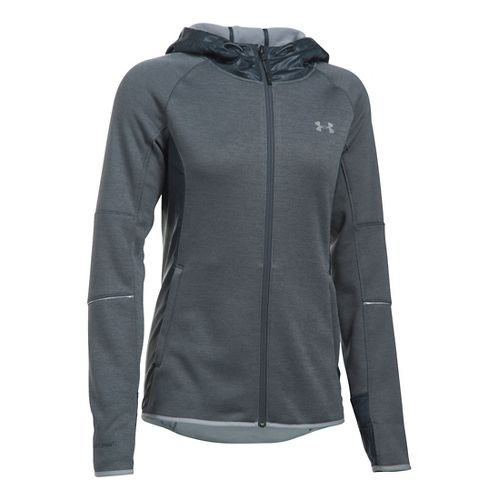 Womens Under Armour Storm Swacket Full-Zip Running Jackets - Stealth Grey/Steel M