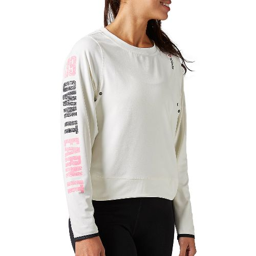 Womens Reebok Avon Nov Coverup Long Sleeve Technical Tops - Chalk L