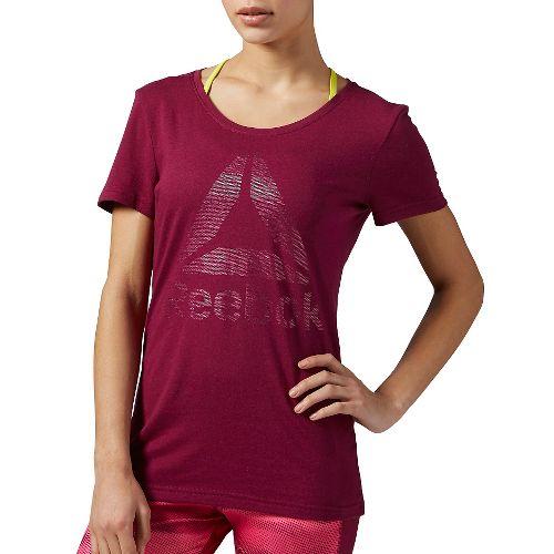Womens Reebok Brandmark Dot Foil Tee Short Sleeve Technical Tops - Berry S