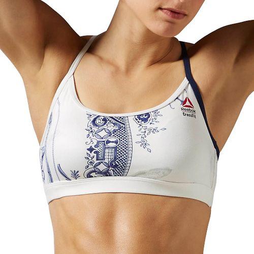 Womens Reebok Crossfit Skinny Strap Porcelain Sports Bras - Chalk L