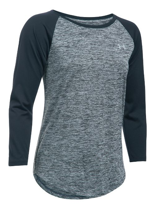 Womens Under Armour Tech 3/4 Sleeves Twist Long Sleeve Technical Tops - Stealth Grey/Black L