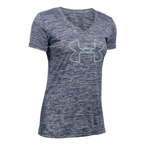 Womens Under Armour Tech Branded V-Neck Twist Short Sleeve Technical Tops - Midnight Navy XL ...