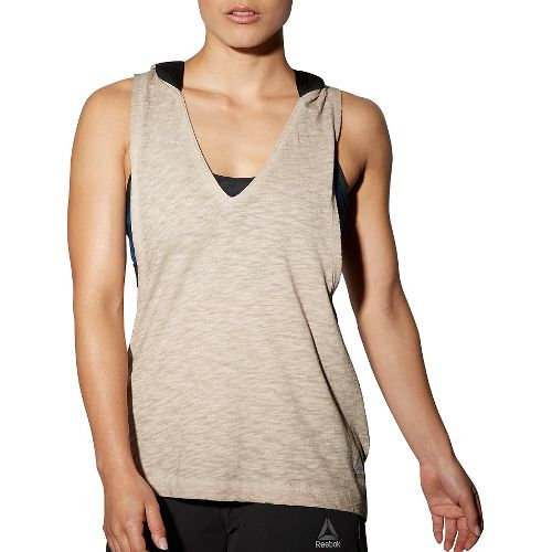 Womens Reebok RNF Hooded Sleeveless & Tank Technical Tops - Wash S