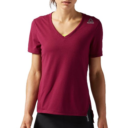 Womens Reebok RNF Kickboxing V Neck Short Sleeve Technical Tops - Berry L