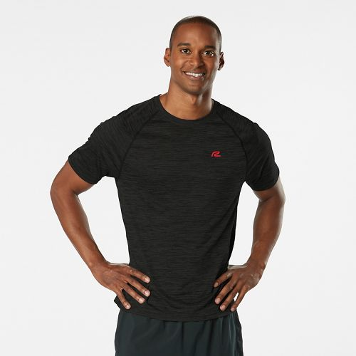 Mens Road Runner Sports Go-To Raglan Short Sleeve Technical Tops - Heather Black M