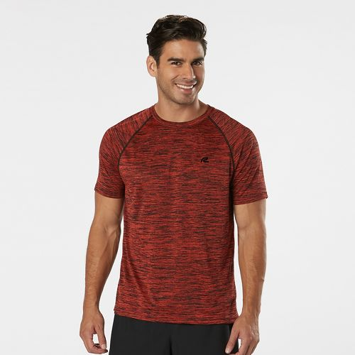 Mens Road Runner Sports Go-To Raglan Short Sleeve Technical Tops - Heather Blaze M
