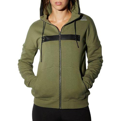 Womens Reebok RNF Oversize Half-Zips & Hoodies Technical Tops - Canopy Green XS