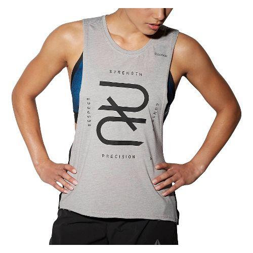 Womens Reebok RNF RRR Tank Half-Zips & Hoodies Technical Tops - Grey Heather M