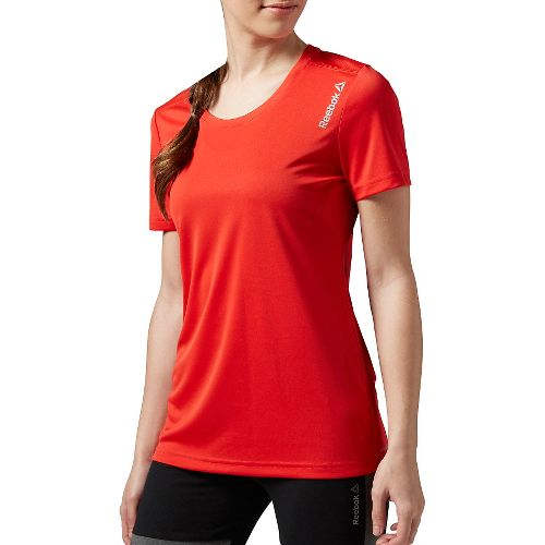 Womens Reebok Running Essentials Tee Short Sleeve Technical Tops - Red XS