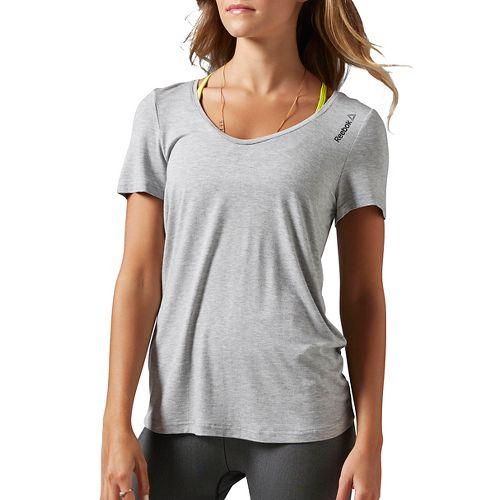 Womens Reebok Studio Faves Tee Short Sleeve Technical Tops - Grey Heather XL
