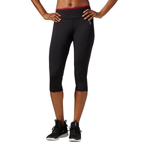 Womens Reebok Work Out Ready Program Capris Pants - Black/Berry XS