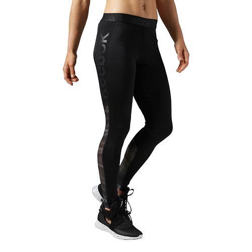 Womens Reebok Workout Ready Logo Tights & Leggings Pants - Black/Grey S