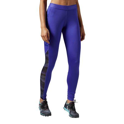 Womens Reebok Workout Ready Logo Tights & Leggings Pants - Purple XL