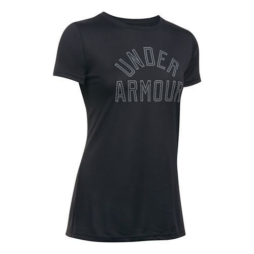 Womens Under Armour Tech Crew Short Sleeve Technical Tops - Black S