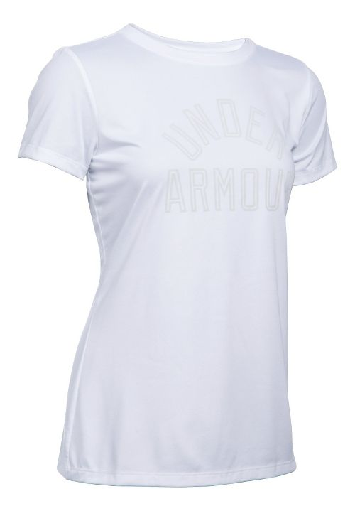 Womens Under Armour Tech Crew Short Sleeve Technical Tops - White M