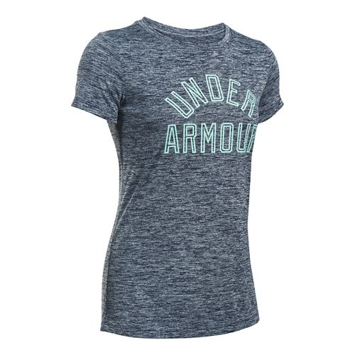 Womens Under Armour Tech Crew Twist Graphic Short Sleeve Technical Tops - Midnight Navy L ...