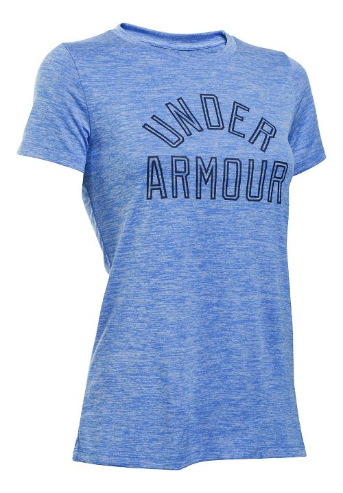 Womens Under Armour Tech Crew Twist Graphic Short Sleeve Technical Tops - Water M