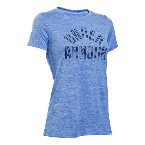 Womens Under Armour Tech Crew Twist Graphic Short Sleeve Technical Tops - Water S