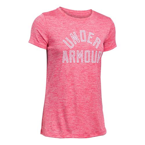 Womens Under Armour Tech Crew Twist Graphic Short Sleeve Technical Tops - Pink Sky M ...