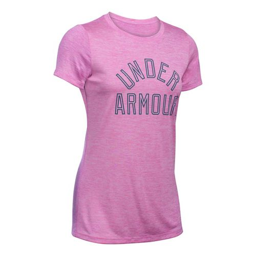 Womens Under Armour Tech Crew Twist Graphic Short Sleeve Technical Tops - Verve Violet S ...