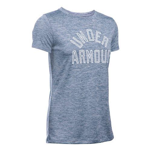 Womens Under Armour Tech Crew Twist Graphic Short Sleeve Technical Tops - Aurora Purple L ...