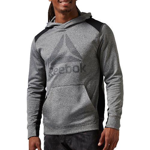 Mens Reebok Workout Ready Warm Poly Fleece Over the Head Half-Zips & Hoodies Technical Tops ...