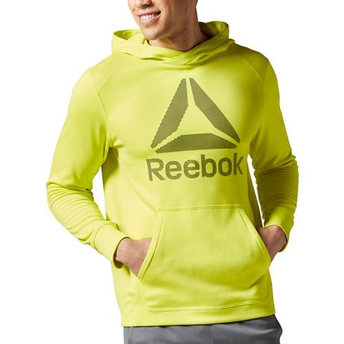 Mens Reebok Workout Ready Warm Poly Fleece Over the Head Half-Zips & Hoodies Technical Tops ...
