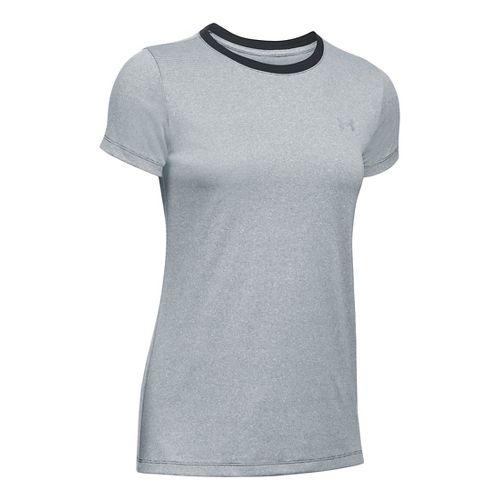 Womens Under Armour Tech Crew Stripe Short Sleeve Technical Tops - Black/White S