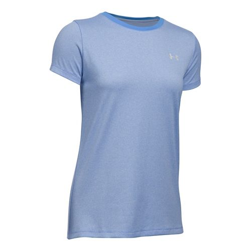 Womens Under Armour Tech Crew Stripe Short Sleeve Technical Tops - Water/White L