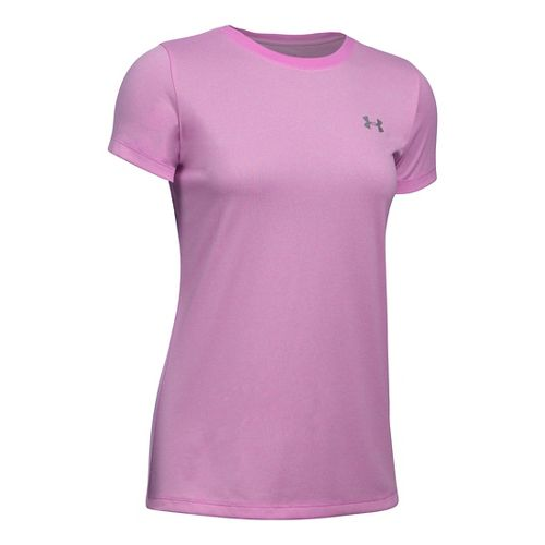 Womens Under Armour Tech Crew Stripe Short Sleeve Technical Tops - Verve Violet/White M