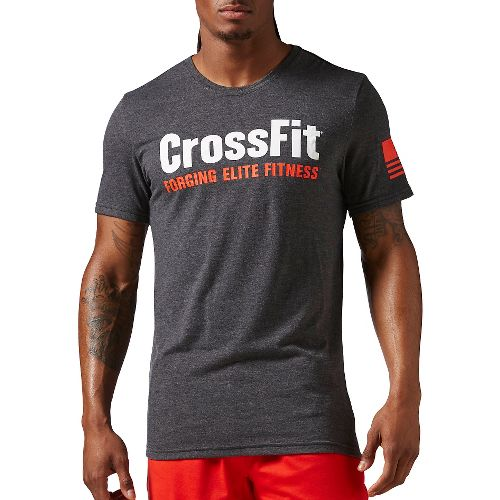 Mens Reebok Crossfit Forging Elite Fitness Tee Short Sleeve Technical Tops - Black XL