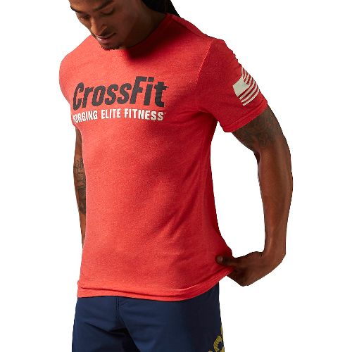 Mens Reebok Crossfit Forging Elite Fitness Tee Short Sleeve Technical Tops - Red S
