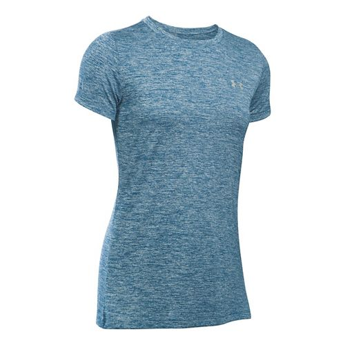 Womens Under Armour Tech Crew Twist Short Sleeve Technical Tops - Heron XL