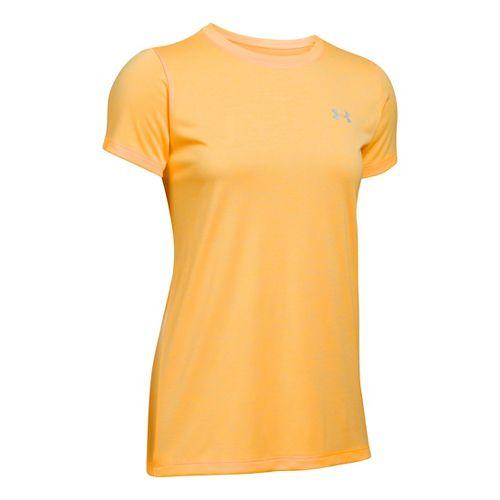 Womens Under Armour Tech Crew Twist Short Sleeve Technical Tops - Mango Orange L