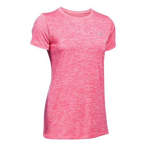 Womens Under Armour Tech Crew Twist Short Sleeve Technical Tops - Pink Sky XS