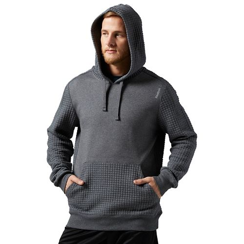 Mens Reebok Elements Quilted Pullover Half-Zips & Hoodies Technical Tops - Grey Heather L