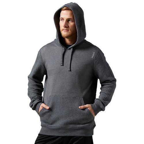 Mens Reebok Elements Quilted Pullover Half-Zips & Hoodies Technical Tops - Grey Heather XL