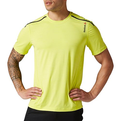 Mens Reebok One Series ACTIVChill Bonded Short Sleeve Technical Tops - Yellow XXL