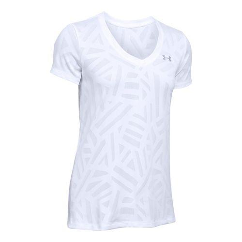 Womens Under Armour Tech V-Neck Jacquard Short Sleeve Technical Tops - White L
