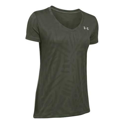 Womens Under Armour Tech V-Neck Jacquard Short Sleeve Technical Tops - Downtown Green M