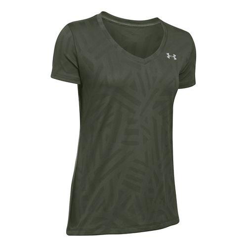 Womens Under Armour Tech V-Neck Jacquard Short Sleeve Technical Tops - Downtown Green XS