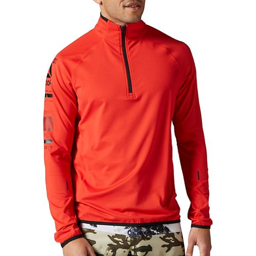 Mens Reebok One Series Advantage BioKnit 1/4 Zip Long Sleeve Technical Tops - Red XL ...