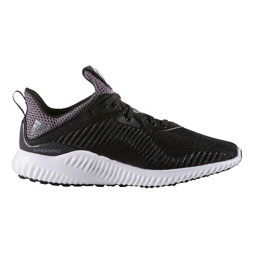 Kids adidas AlphaBounce J Running Shoe - Black/White 6.5Y