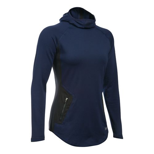 Womens Under Armour No Breaks Balaclava Hoodie & Sweatshirts Technical Tops - Midnight ...