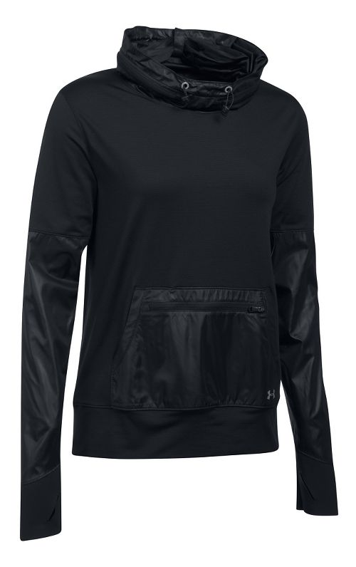 Womens Under Armour No Breaks Hybrid Pullover Hoodie & Sweatshirts Technical Tops - Black LR